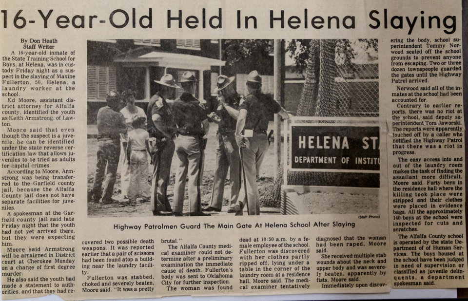 Photo - A photo copy taken on Friday, June 26, 2020, in Oklahoma City, Okla., of a news article about Maxine Fullerton, who was murdered in 1980 by a 16-year-old inmate of the State Training School for Boys, at Helena. [Chris Landsberger/The Oklahoman]