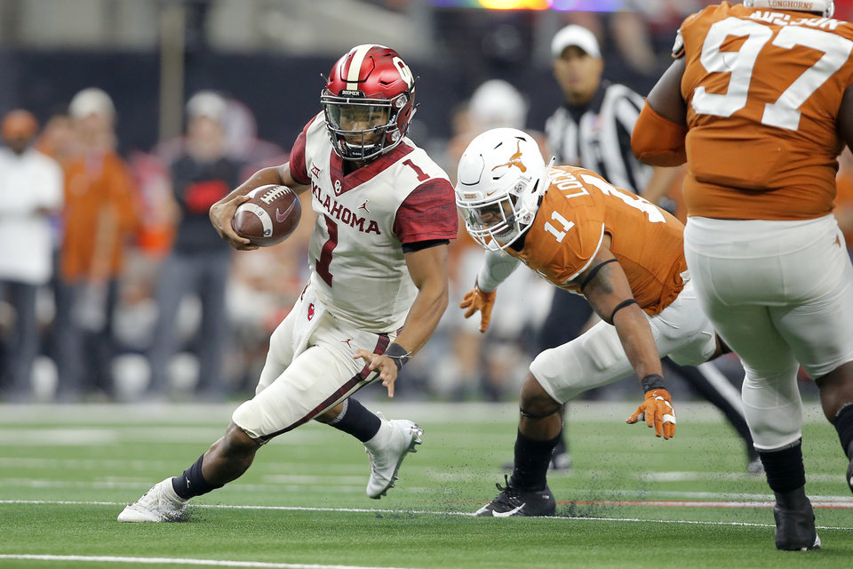 Photo - Oklahoma's Kyler Murray (1) scrambles past P.J. Locke III (11) of Texas during the Big 12 Championship football game between the Oklahoma Sooners (OU) and the Texas Longhorns (UT) at AT&T Stadium in Arlington, Texas, Saturday, Dec. 1, 2018.  Oklahoma won 39-27. Photo by Bryan Terry, The Oklahoman