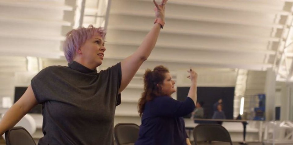 Photo - Erica Portell, a dance instructor at Oklahoma City Ballet, leads a Dance for Parkinson's class. [STAPLEGUN]