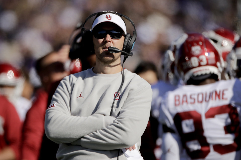 Photo - Oklahoma head coach Lincoln Riley watches during the first half of an NCAA college football game against Kansas State, Saturday, Oct. 26, 2019, in Manhattan, Kan. (AP Photo/Charlie Riedel)