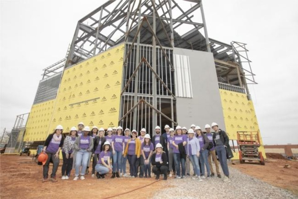 Photo -  Oklahoma Contemporary staff take a hard hat tour of the new building. [provided]