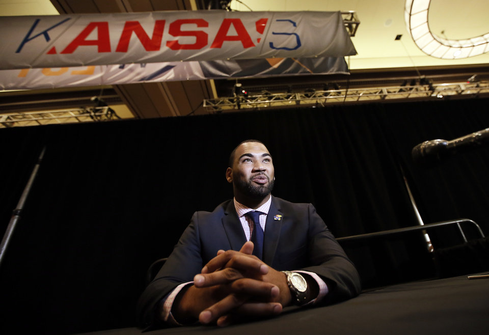 Photo - Kansas defensive back Ben Goodman talks with reporters during Big 12 Conference Football Media Days, Monday, July 20, 2015, in Dallas. (AP Photo/Tony Gutierrez)