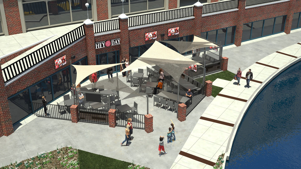 Photo -  Plans for HeyDay Entertainment in Lower Bricktown include a more active use of the patio that fronts the Bricktown Canal. [Cornerstone Architecture]