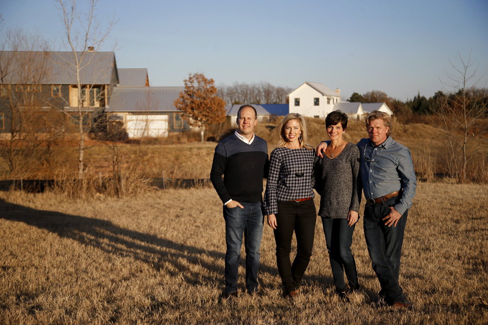 Photo -  Jeremie and Kelly Kubicek, and Matthew and Kim Myers are shown at the neighborhood they are developing in east Edmond, The Prairie at Post. [PHOTO BY BRYAN TERRY, THE OKLAHOMAN]