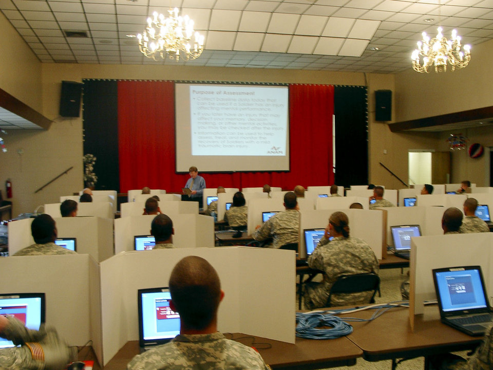 Photo - Schlegel/Gilliland U.S. Army brain measurement test.  The article that is attached will come out in the OU College of Engineering annual magazine called Evolve in November. Campbell, KY 101st Airbourne Division. Soldiers in the 101st Airbourne Division at Fort Campbell take computer-based tests that measure brain function. The data gives baseline information to compare against in case of brain injury during combat. Photo provided ORG XMIT: KOD
