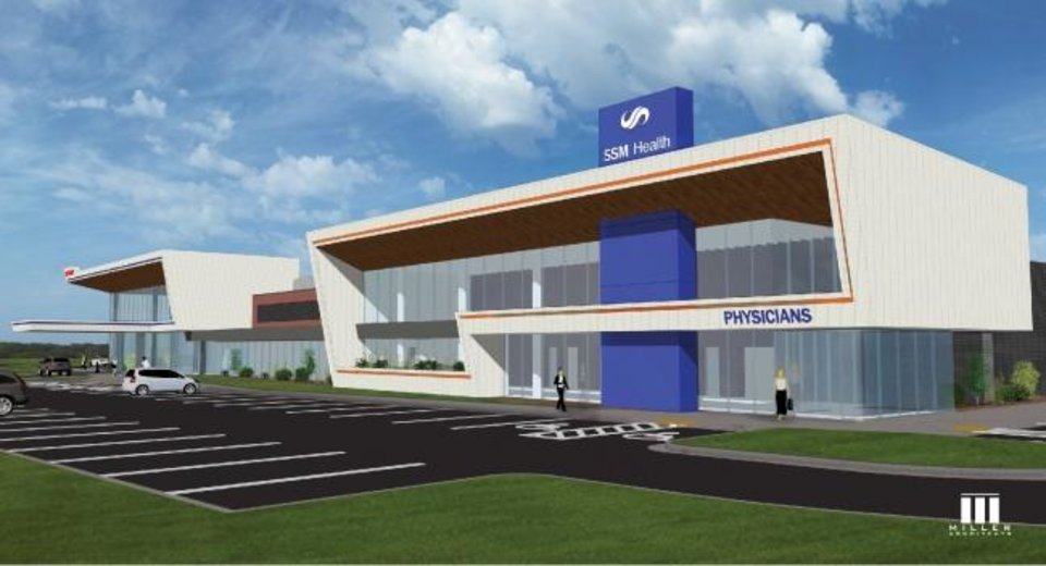 Photo -  Officials broke ground Tuesday in El Reno on the future SSM Health St. Anthony Healthplex, shown in this artist's rendering. [IMAGE PROVIDED]