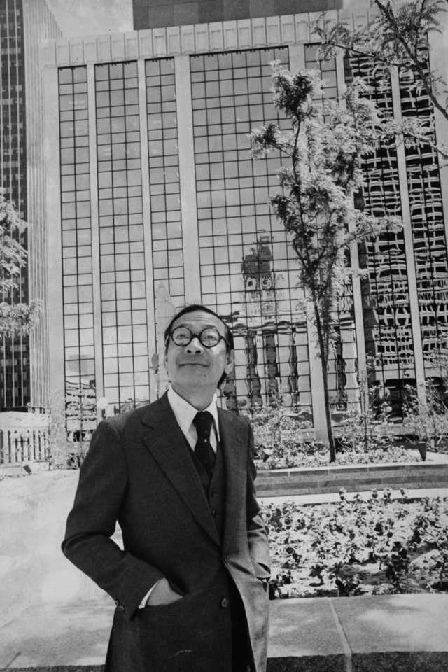 Photo - I.M. Pei stands in Kerr Park before one of the reconstructed buildings and enjoys the results of his redevelopment design. Originall published in the Oklahoma City Times. Staff photo by J. Pat Carter. Original from Oklahoman print archive dated originally May 3, 1976 , copied Friday, April 30, 2010. Copy photo by Doug Hoke, The Oklahoman. ORG XMIT: KOD