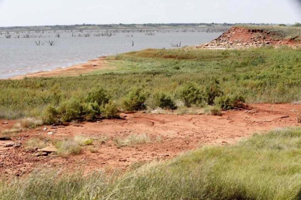 Photo -  Waurika Lake water levels are low during a 2014 drought, which made a water shortage worse in Duncan. [Oklahoman archives]