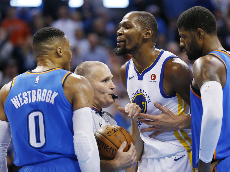 Photo - The Russell Westbrook/Kevin Durant rivalry had some heat on Wednesday. [PHOTO BY NATE BILLINGS, THE OKLAHOMAN]