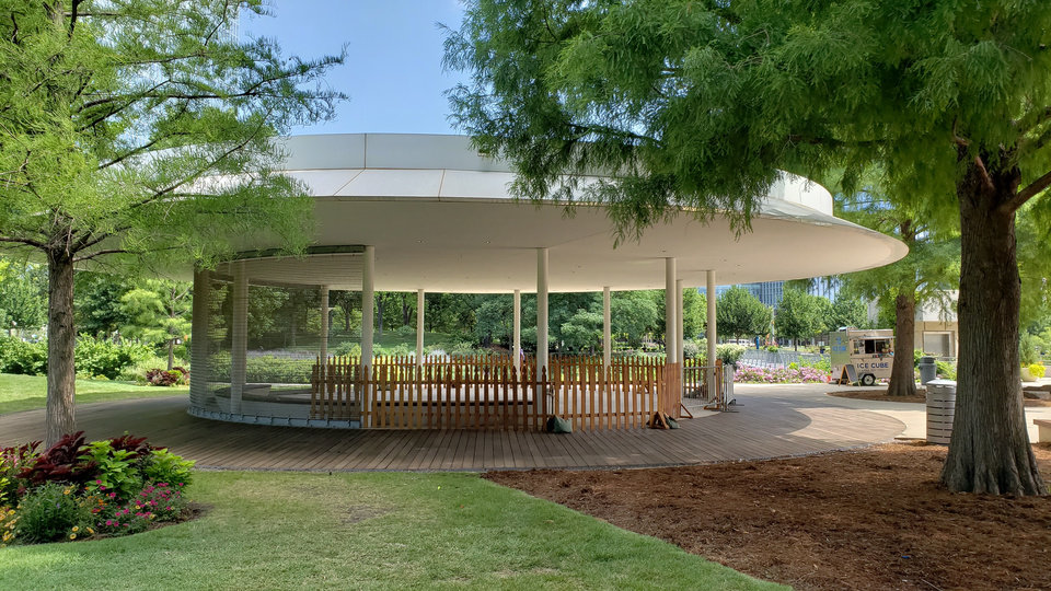 Photo -  An open pavilion once intended to be a cafe at the Myriad Gardens will soon be home to a carousel being donated by Michael Dillard and Roddy Bates. [Photo provided]