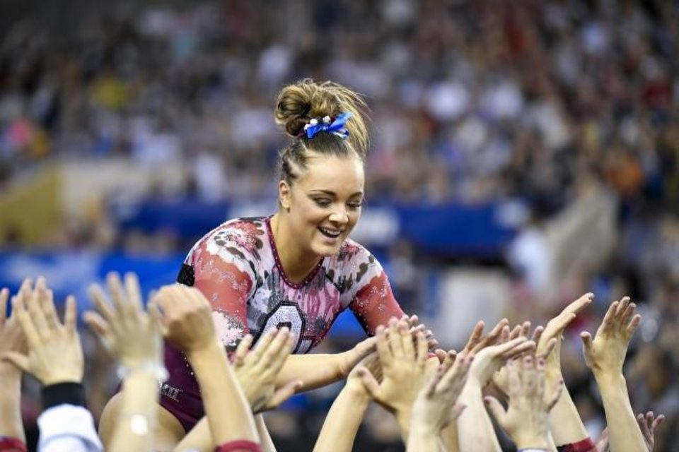 Photo -  Maggie Nichols won four individual national titles and two team national titles during her four-year gymnastics career at OU. [Jerome Miron/USA TODAY Sports]