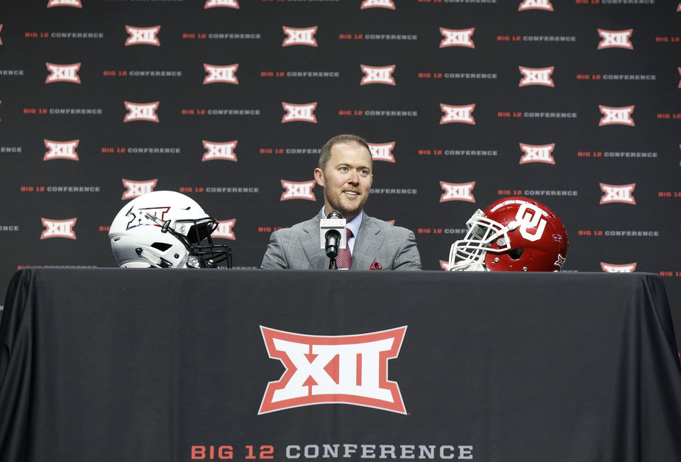 Photo - OU head coach Lincoln Riley at the Big 12 Media Day at AT&T Stadium in Dallas, TX, July 15, 2019. STEPHEN PINGRY/Tulsa World