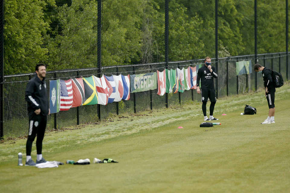Photo - Energy FC players arrive for soccer practice in Oklahoma City, Wednesday, May 13, 2020. [Bryan Terry/The Oklahoman]
