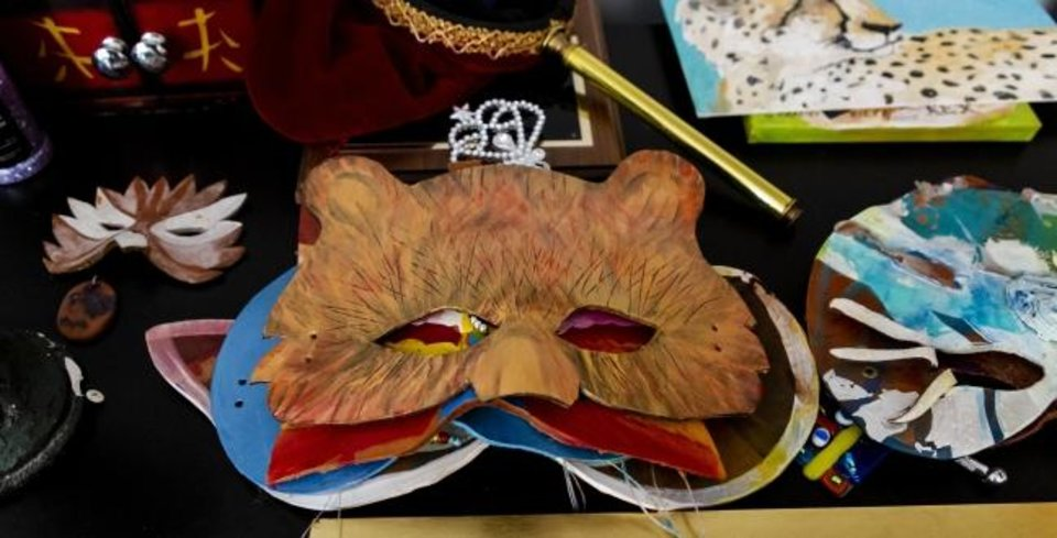 Photo -  An animal mask created by G. Patrick Riley  is displayed at his home studio in Bethany on July 29. Riley, who is renowned for his colorful masks, has a variety of his work on view in the exhibit