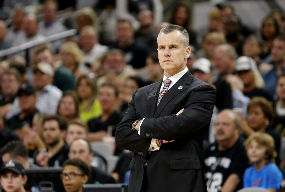 Photo - Oklahoma City coach Billy Donovan watches during Game 1 of the second-round series between the Oklahoma City Thunder and the San Antonio Spurs in the NBA playoffs at the AT&T Center in San Antonio, Saturday, April 30, 2016. San Antonio won 124-92. Photo by Bryan Terry, The Oklahoman