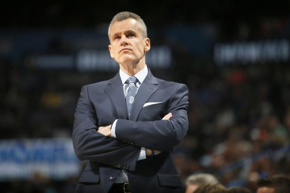 Photo -  Billy Donovan will return to the Oklahoma City Thunder for a fifth season. Donovan has coached the Thunder to the playoffs all four seasons he's been at the helm. [Bryan Terry/The Oklahoman]