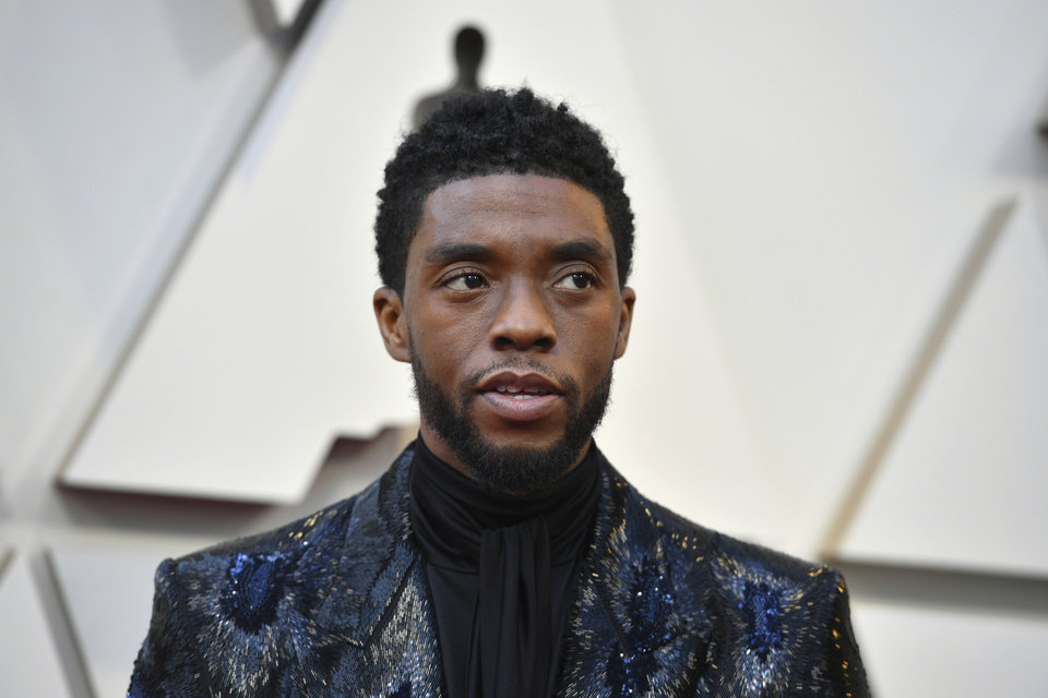 Photo -  Chadwick Boseman arrives at the Oscars on Sunday, Feb. 24, 2019, at the Dolby Theatre in Los Angeles. (Photo by Jordan Strauss/Invision/AP)