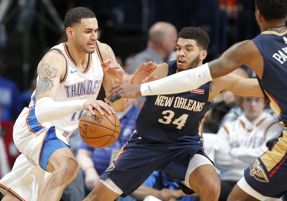 Photo -  Abdel Nader, left, is averaging 5.6 points and 13.5 minutes per game for Thunder in January. [Photo by Bryan Terry, The Oklahoman]