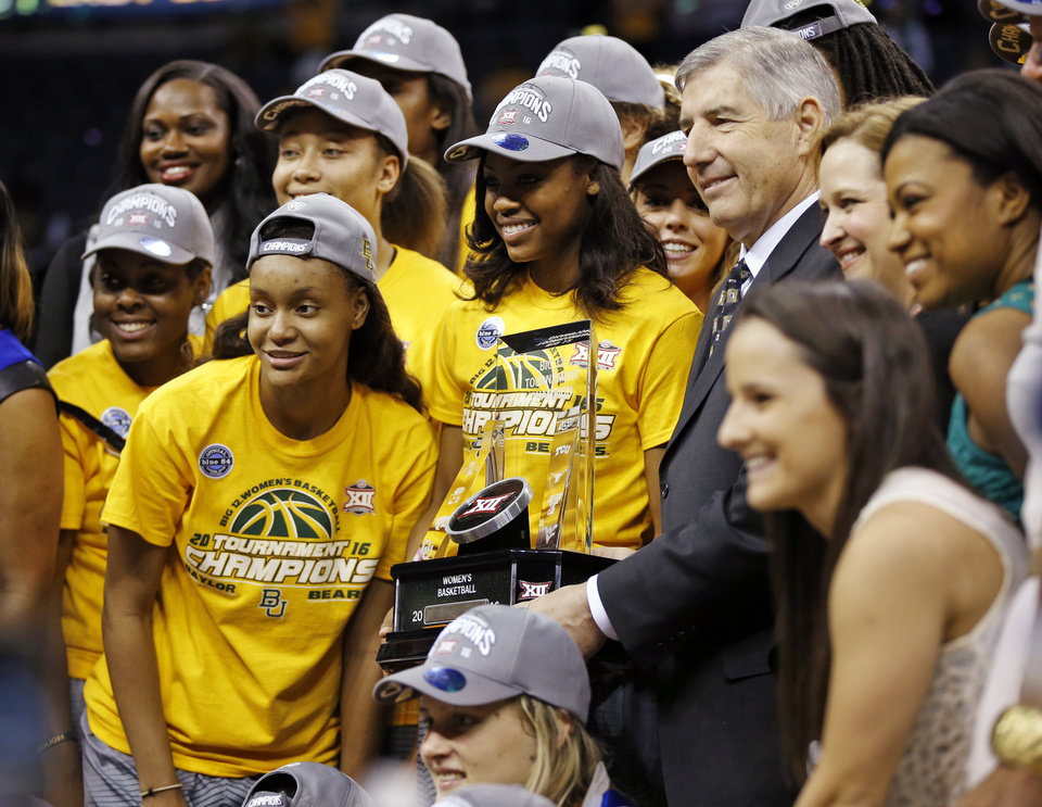 Photo - Baylor poses for a photo with the championship trophy after the Big 12 Women's Basketball Championship final between the Texas Longhorns and the Baylor Lady Bears at Chesapeake Energy Arena in Oklahoma City, Monday, March 7, 2016. Photo by Nate Billings, The Oklahoman