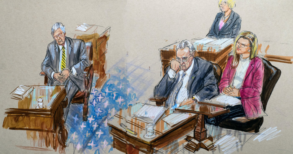 Photo -  This artist sketch depicts Senate Majority Leader Mitch McConnell, R-Ky., left, and Senate Minority Leader Chuck Schumer, D-N.Y., right, listening to defense arguments Monday in the impeachment trial of President Donald Trump on charges of abuse of power and obstruction of Congress, at the Capitol in Washington. [Dana Verkouteren via The Associated Press]