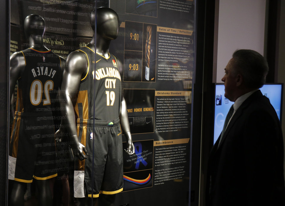 Photo - The Oklahoma City Thunder unveiled their special uniform design that honors the 25th anniversary of the bombing of Oklahoma City's Alfred P. Murrah Federal Building at the Oklahoma City National Museum Tuesday, July 23, 2019. [Doug Hoke/The Oklahoman]
