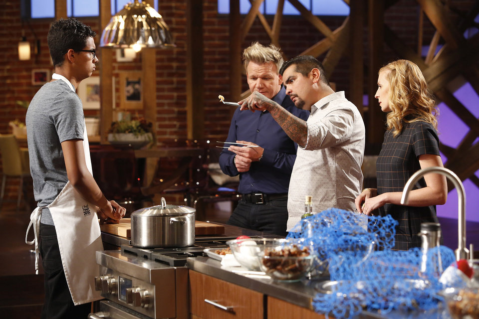 Photo -  Oklahoma City's Gabriel Lewis stands before judges Gordon Ramsay, Aaron Sanchez and Christina Tosi just before being eliminated from the competition but awarded life-changing opportunities. [Photo provided by FOX Broadcasting]