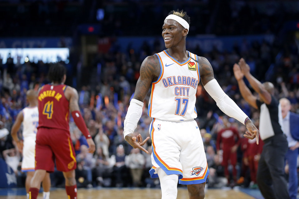 Photo - Oklahoma City's Dennis Schroder (17) smiles after a basket late in an NBA basketball game between the Oklahoma City Thunder and the Cleveland Cavaliers at Chesapeake Energy Arena in Oklahoma City, Wednesday, Feb. 5, 2020. Oklahoma City won 109-103. [Bryan Terry/The Oklahoman]