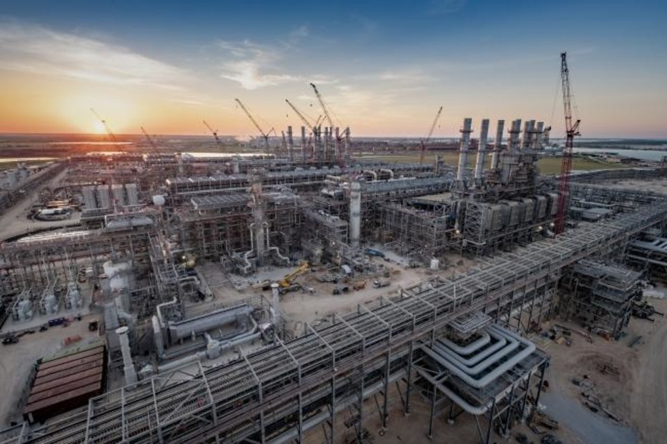 Photo -  Cheniere Energy's LNG export terminal in Corpus Christi, Texas, is shown under construction in early 2018. The company is exporting from a completed train at the facility now, while a second is being tested and a third is being built. [Provided]