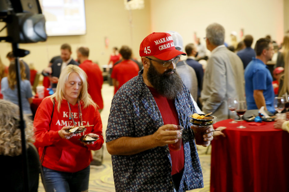Photo - Supporters gather during a Republican Party election night watch party in Edmond, Tuesday, Nov. 3, 2020. [Bryan Terry/The Oklahoman]