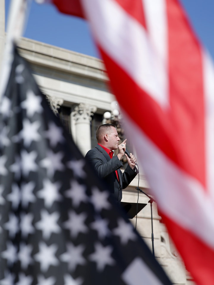 Photo - State Rep. Kevin McDugle speaks during a rally for President Trump at the Oklahoma state Capitol in Oklahoma City,  Saturday, Nov. 7, 2020. [Sarah Phipps/The Oklahoman]