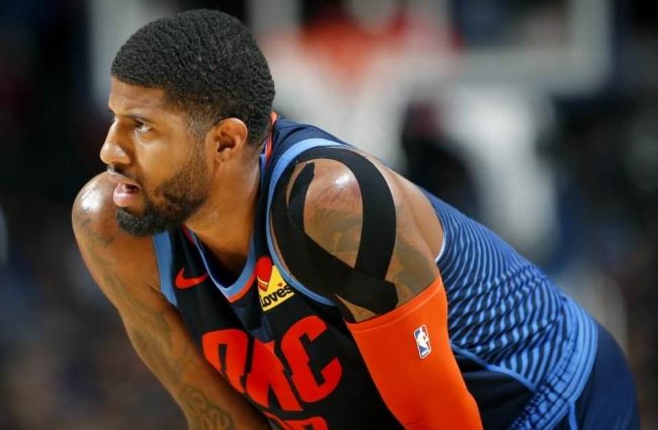 Photo -  Oklahoma City's Paul George (13) reacts during the NBA basketball game between the Oklahoma City Thunder and the Toronto Raptors at the Chesapeake Energy Arena, Wednesday,March 20, 2019. Photo by Sarah Phipps, The Oklahoman