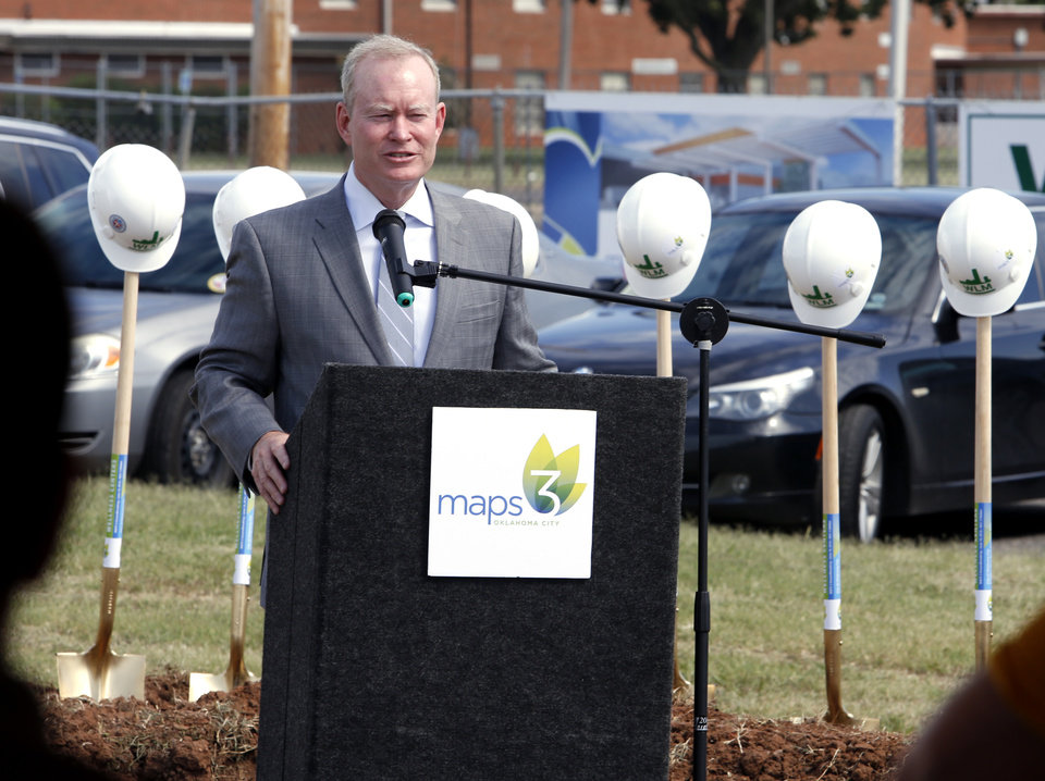 Photo - Oklahoma City Mayor Mick Cornett and other dignitaries take part in a groundbreaking ceremony marking the start of construction of the second MAPS 3 senior center at 4021 South Walker on Thursday, June 16, 2016 in Oklahoma City, Okla.  Photo by Steve Sisney, The Oklahoman