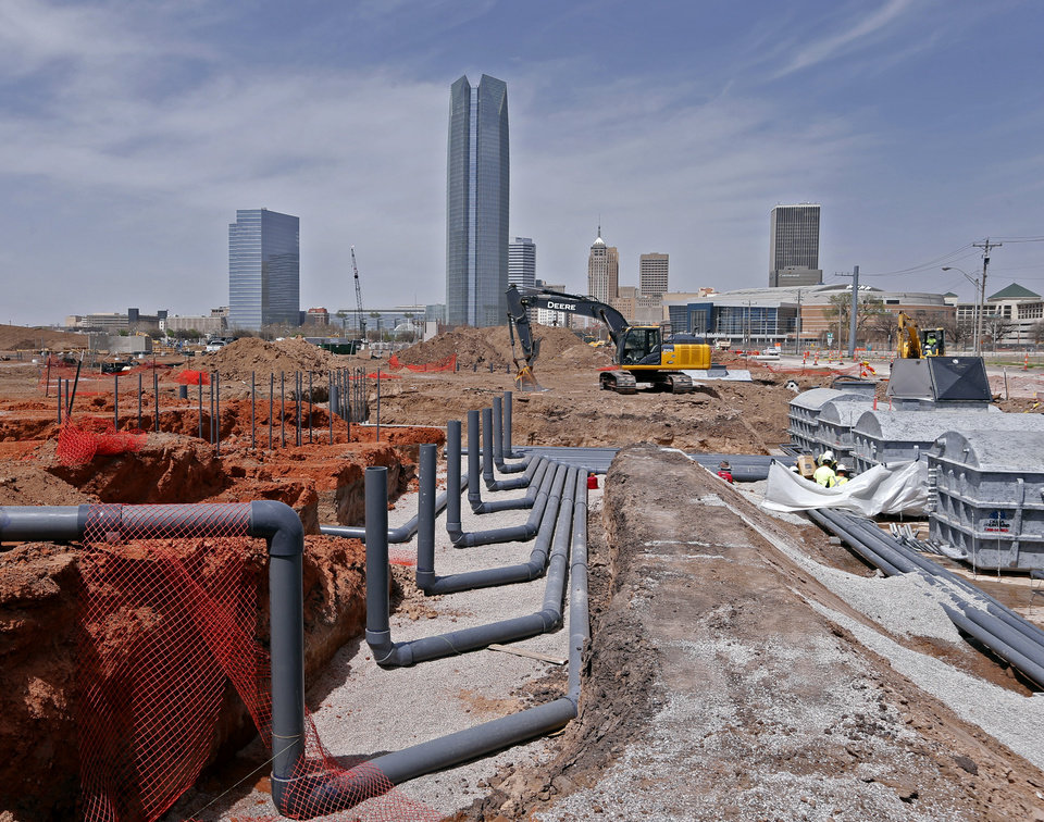 Photo - Water pipes for a MAPS 3 fountain are part of a tour of the construction site of the downtown park on Friday, April 13, 2018 in Oklahoma City, Okla.  Photo by Steve Sisney, The Oklahoman