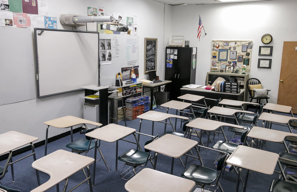 Photo - A classroom at the new location of Seminole High School in Seminole, Okla., on Tuesday, Feb. 28, 2017. A new charter school The Academy of Seminole will soon offer another option for students after it was initially rejected by the local school board, but won an appeal to the state school board to open for the school year next Fall.  Photo by Chris Landsberger, The Oklahoman