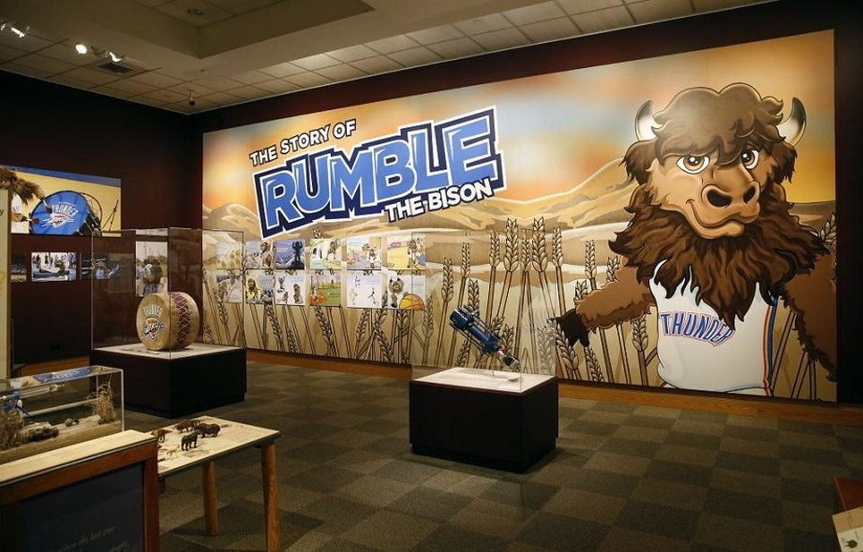 "Photo - A large mural of Oklahoma City Thunder mascot Rumble the Bison is featured in""Ancient. Massive. Wild – The Bison Exhibit"" at the National Cowboy & Western Heritage Museum in Oklahoma City, Thursday, Feb. 7, 2019. [Photo by Nate Billings/The Oklahoman]"