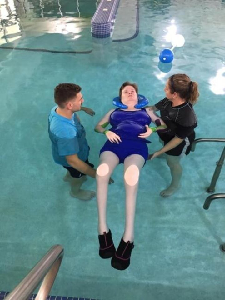 Photo -  Leah Campbell takes an aquatic therapy session. [Photo provided]