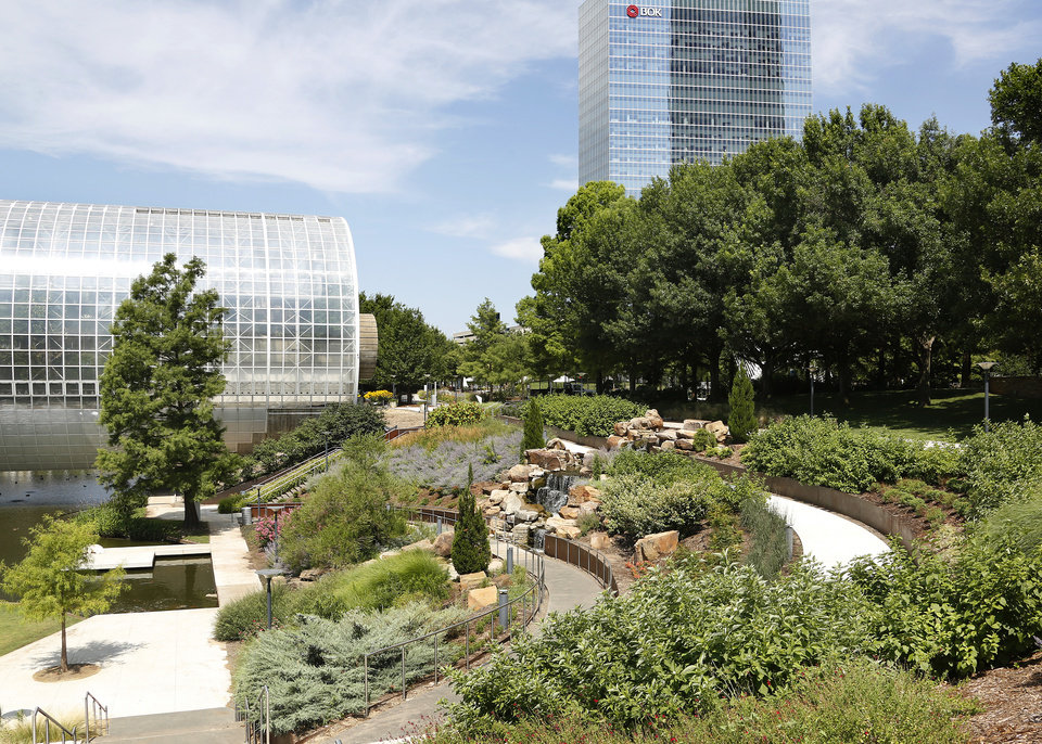 Photo - Myriad Botanical Gardens is an oasis of a myriad beautiful flowers, plants, trees and water displays surrounded by downtown streets and nestled among skyscrapers and office buildings. Photo taken July 11, 2019.  [Jim Beckel/The Oklahoman]
