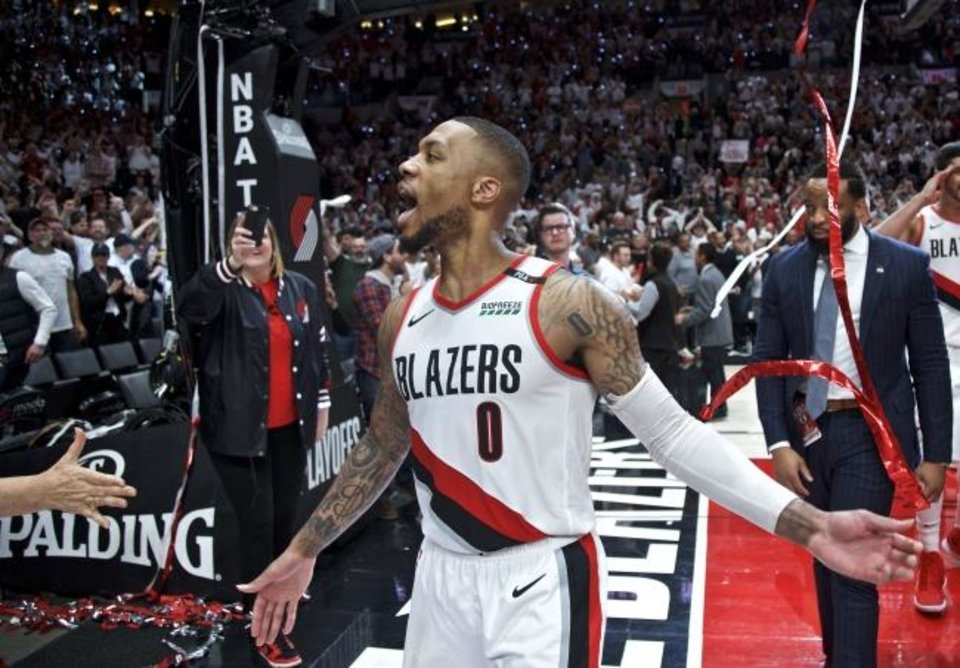 Photo -  Damian Lillard sent the Thunder packing with his 37-foot, series-winning shot, but that moment was a year in the making. It was the direct result of the Blazers being swept out of the playoffs in back-to-back years. [AP PHOTO]