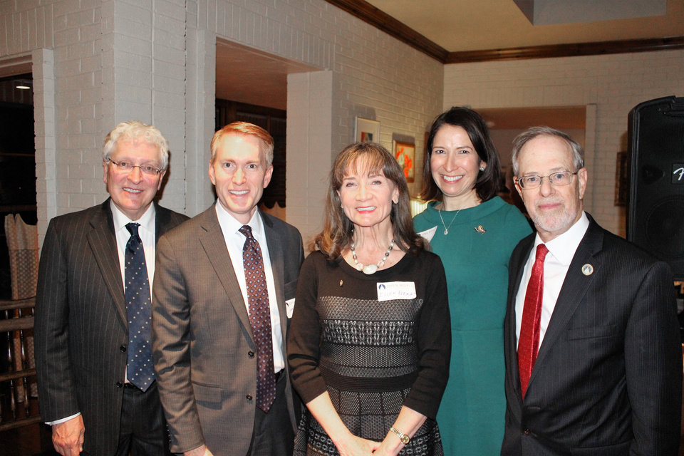 Photo - President Robert Henry, U.S. Senator James Lankford, Rotary President Ellen Fleming, U.S. Magistrate Judge Suzanne Mitchell and John O'Keefe. Photo Provided.