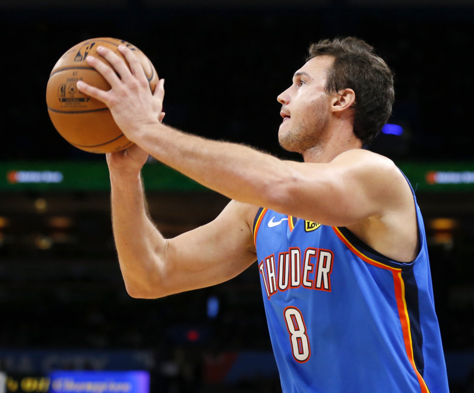 Photo - Oklahoma City's Danilo Gallinari (8) shoots in the first quarter during an NBA basketball game between the Oklahoma City Thunder and the Washington Wizards at Chesapeake Energy Arena in Oklahoma City, Friday, Oct. 25, 2019. [Nate Billings/The Oklahoman]