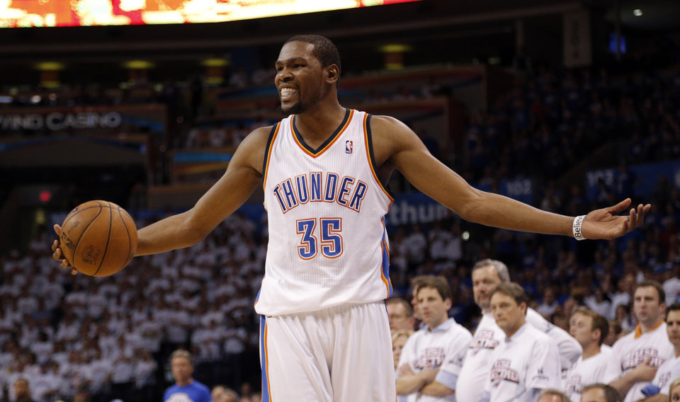 ff230c6c401 NBA BASKETBALL   REACTION  Oklahoma City s Kevin Durant reacts after losing  a ball out of bounds in the final seconds of Game 2 in the second round of  the ...