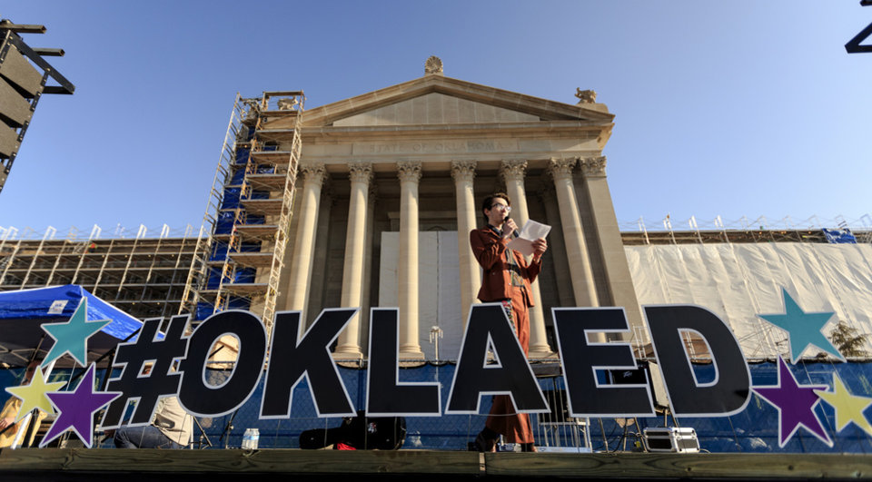 Photo - Oklahoma City Community College student Jagger Tingly speaks during the ninth day of a walkout by Oklahoma teachers at the state Capitol in Oklahoma City, Okla. on Tuesday, April 10, 2018.   Photo by Chris Landsberger, The Oklahoman