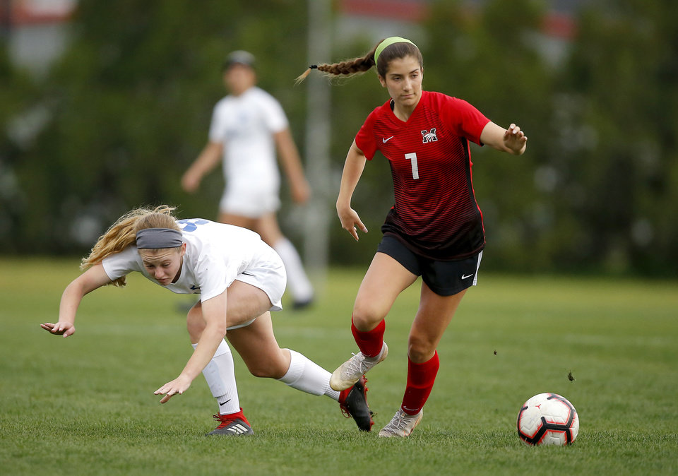 Photo - Mustang's Sami See, right, goes past Deer Creek's Emily Tincher during a Class 6A soccer playoff game between Deer Creek and Mustang in Mustang, Okla., Wednesday, May 1, 2019. [Bryan Terry/The Oklahoman]
