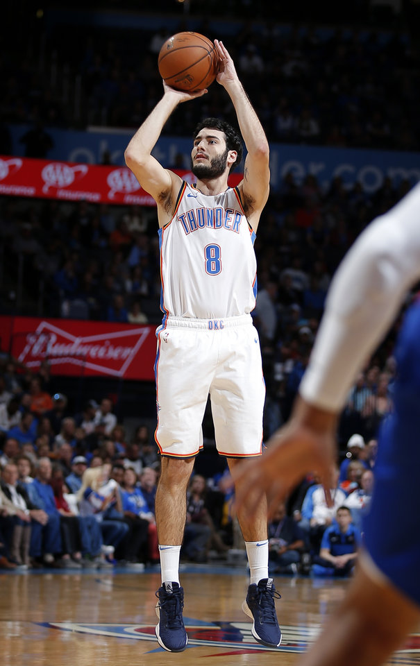 Photo -  Alex Abrines, who is in the final year of his contract, has helped the Thunder break through from 3-point range. He has hit 44.4 percent of his shots from 3-point range over the last three games. [PHOTO BY SARAH PHIPPS, THE OKLAHOMAN]