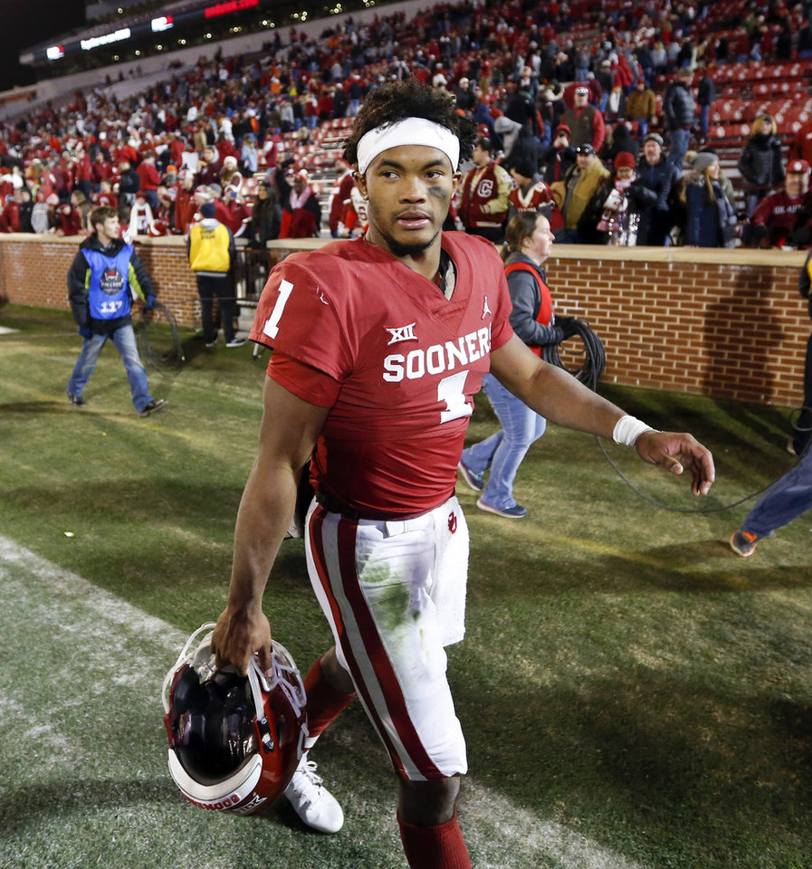 Photo - Oklahoma's Kyler Murray (1) leaves the field after a Bedlam college football game between the University of Oklahoma Sooners (OU) and the Oklahoma State University Cowboys (OSU) at Gaylord Family-Oklahoma Memorial Stadium in Norman, Okla., Nov. 10, 2018. OU won 48-47. Photo by Nate Billings, The Oklahoman