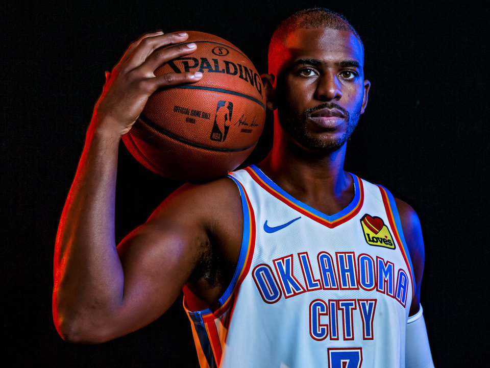 Photo - Chris Paul (3) poses for a photo during the Oklahoma City Thunder media day at the Chesapeake Energy Arena in Oklahoma City, Okla. on Monday, Sept. 30, 2019.  [Chris Landsberger/The Oklahoman]