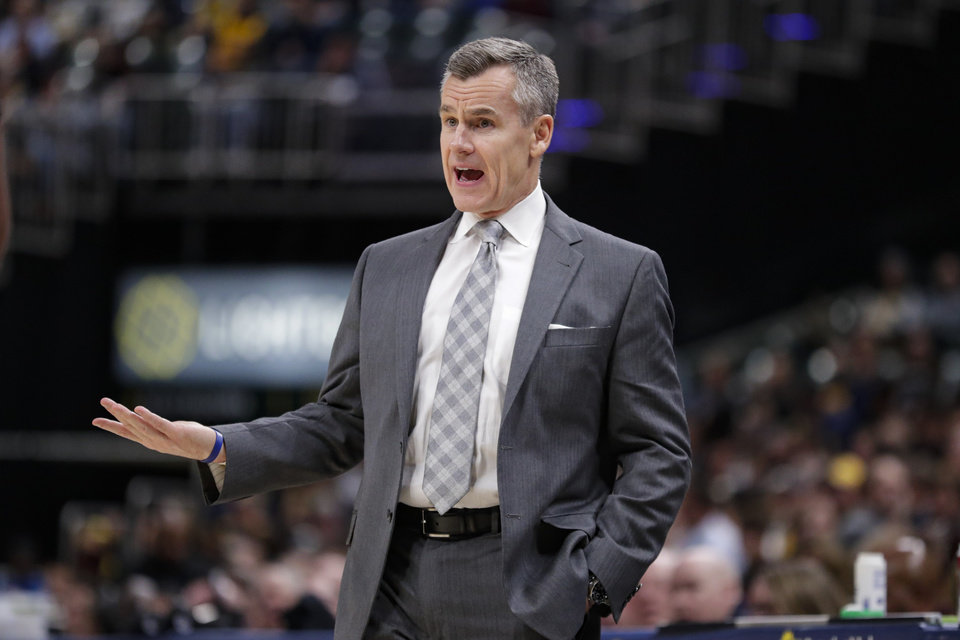 Photo - Oklahoma City Thunder coach Billy Donovan questions a call during the second half of the team's NBA basketball game against the Indiana Pacers in Indianapolis, Tuesday, Nov. 12, 2019. The Pacers won 111-85. (AP Photo/Michael Conroy)