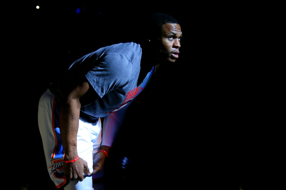 857bf946ceb16a Oklahoma City s Russell Westbrook (0) stands during introductions before an  NBA basketball game between the Oklahoma City Thunder and the Minnesota ...