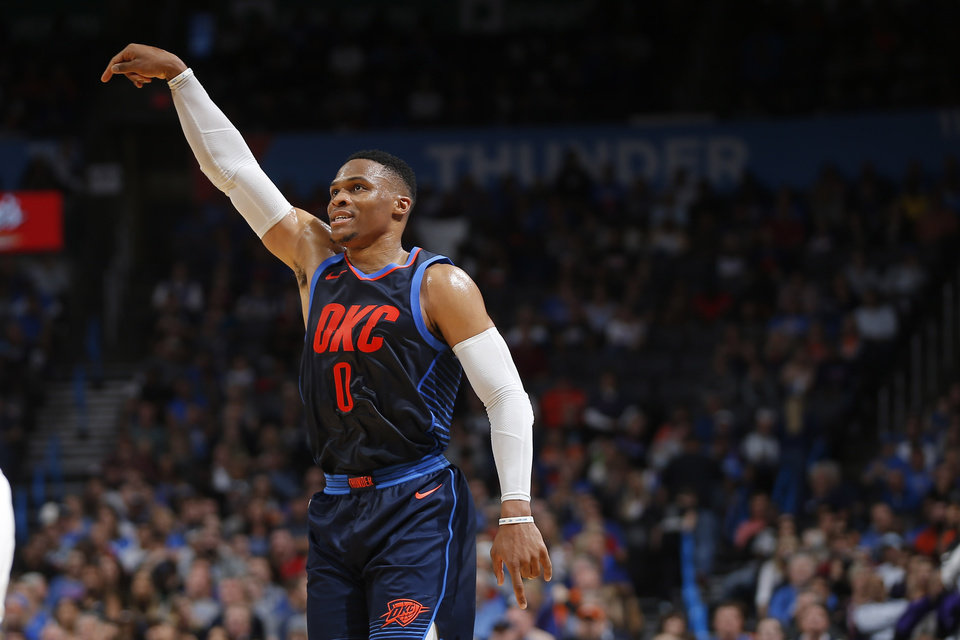 Photo - Oklahoma City's Russell Westbrook (0) watches after missing a shot during an NBA basketball game between the Oklahoma City Thunder and the Sacramento Kings at Chesapeake Energy Arena in Oklahoma City, Sunday, Oct. 21, 2018. Photo by Bryan Terry, The Oklahoman