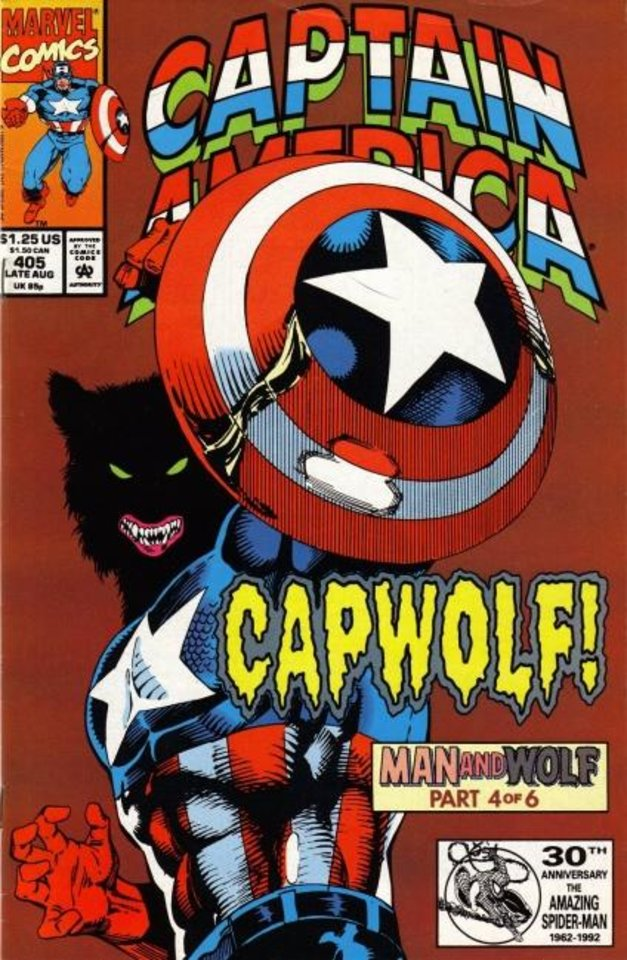 Photo -  Capwolf: Captain America turned into a werewolf in the comics of 1992. [Marvel Comics]